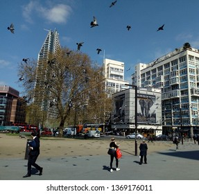 LONDON/ UK- 14th April 2019: The famous Elephant and castle, in south east London, is a busy metropolitan area, which is on the junction of the Old Kent road and Borough high street.