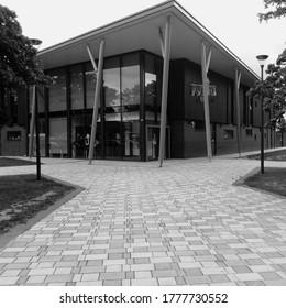 LONDON/ UK- 14th July 2020: Modern youth club in Dagenham, London, taken in black and White.