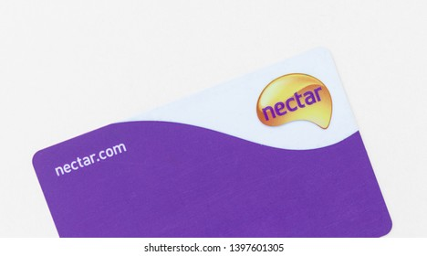 London, UK - 14th May 2019 - Scuffed Sainsbury's Nectar card isolated on a white background