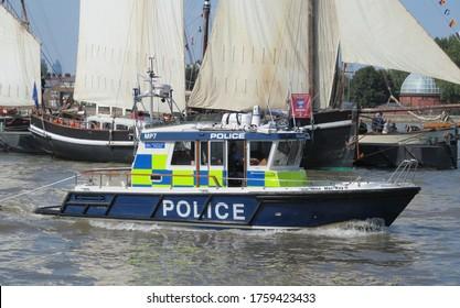 LONDON/ UK- 14th September 2014: Police patrol boat, on London's river Thames.