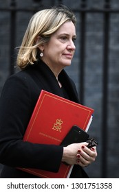 London, UK. 15 Januari, 2019. Amber Rudd, Secretary of State for Work and Pensions, leaves the Cabinet Meeting, 10 Downing Street.