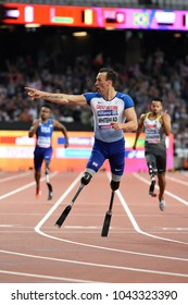 London, UK. 15 July, 2017. WHITEHEAD Richard (T42) wins the Men's 200m T42 Final at the World Para Athletics Championships.