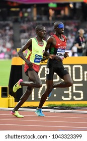 London, UK. 15 July, 2017. KIMANI Samwel Mushai (T11) BOIT James win the 5000m at the World Para Athletics Championships.