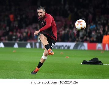 LONDON, UK - 15 MARCH 2018: Leonardo Bonucci pictured prior to the second leg game of the UEFA Europa League Round of 16 tie between Arsenal FC and AC Milan at Emirates Stadium.