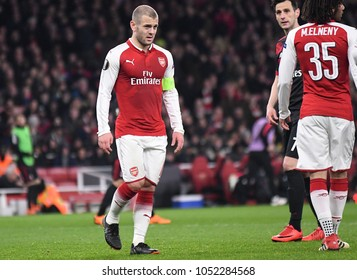 LONDON, UK - 15 MARCH 2018: Jack Wilshere pictured during the second leg game of the UEFA Europa League Round of 16 tie between Arsenal FC and AC Milan at Emirates Stadium.