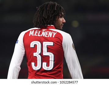 LONDON, UK - 15 MARCH 2018: Mohamed Elneny pictured during the second leg game of the UEFA Europa League Round of 16 tie between Arsenal FC and AC Milan at Emirates Stadium.