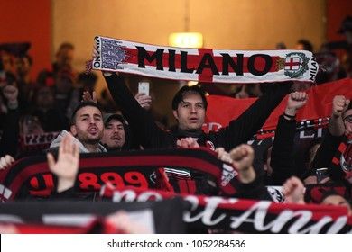 LONDON, UK - 15 MARCH 2018:  Milan fans pictured during the second leg game of the UEFA Europa League Round of 16 tie between Arsenal FC and AC Milan at Emirates Stadium.