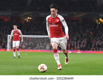 LONDON, UK - 15 MARCH 2018: Mesut Ozil pictured during the second leg game of the UEFA Europa League Round of 16 tie between Arsenal FC and AC Milan at Emirates Stadium.