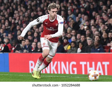 LONDON, UK - 15 MARCH 2018: Nacho Monreal pictured during the second leg game of the UEFA Europa League Round of 16 tie between Arsenal FC and AC Milan at Emirates Stadium.