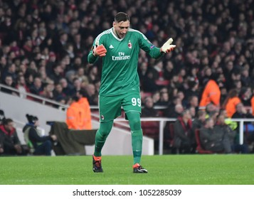 LONDON, UK - 15 MARCH 2018: Gianluigi Donnarumma pictured during the second leg game of the UEFA Europa League Round of 16 tie between Arsenal FC and AC Milan at Emirates Stadium.