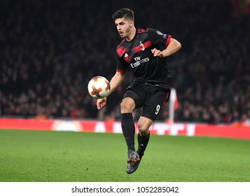 LONDON, UK - 15 MARCH 2018: Andre Silva pictured during the second leg game of the UEFA Europa League Round of 16 tie between Arsenal FC and AC Milan at Emirates Stadium.