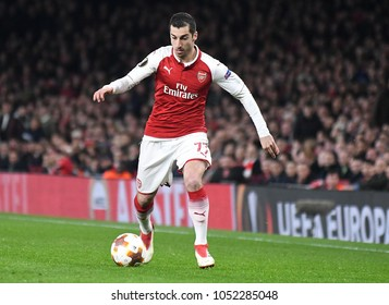 LONDON, UK - 15 MARCH 2018: Henrikh Mkhitaryan pictured during the second leg game of the UEFA Europa League Round of 16 tie between Arsenal FC and AC Milan at Emirates Stadium.