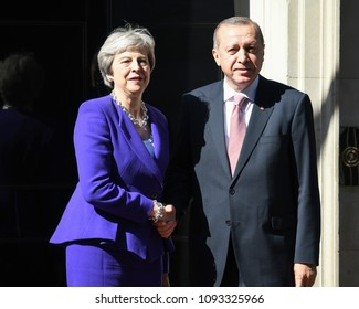 London, UK. 15 May, 2018. Prime Minister Theresa May hosts President Recep Tayyip Erdogan of Turkey for a bilateral in Downing Street.