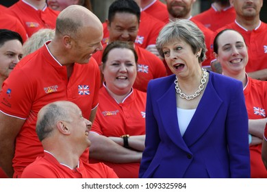 London, UK. 15 May, 2018. Prime Minister Theresa May attends the exclusive unveiling of the team selected to represent the UK at the Invictus Games Sydney 2018.