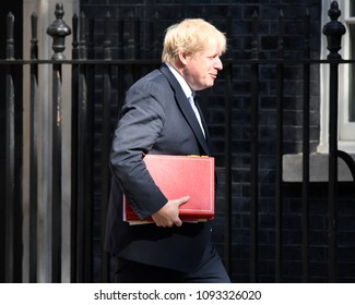 London, UK. 15 May, 2018. Boris Johnson arrives at the cabinet meeting.