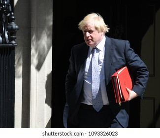 London, UK. 15 May, 2018. Boris Johnson leaves the cabinet meeting.