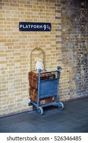 London UK - 15 Oct 2015: Platform no. 9 3/4 at King's Cross station is open to public for fun and joy