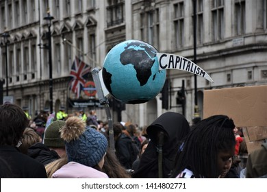 London, UK - 15/03/2019 - Global Climate Strike - Capitalism