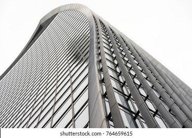 London, UK. 15th November 2017. Curves and lines of 20 Fenchurch Street tower, also known as 'The Walkie Talkie' building.