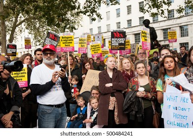 London, UK. 15th October 2016. EDITORIAL - Hundreds marched to Downing Street, London, calling on the British government to enact Lord Dubs' amendment now,to relocate 3,000 child refugees into the UK.