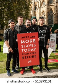 London, UK. 15th October 2016. EDITORIAL - The A21 Campaign protest rally In central London, a global event to raise awareness & funds, for the fight against human trafficking and slavery.