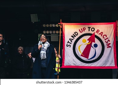 London / UK - 16/03/2019: Diane Abbott speech at UN Anti-Racism Demonstration.