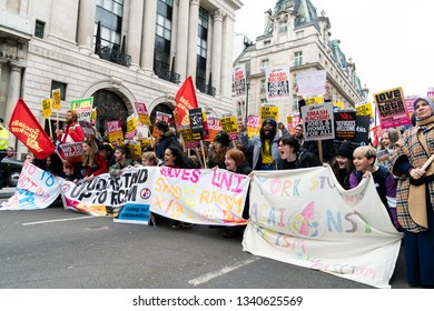 London, UK. 16th Feb, 2019. Protesters shout Stand Up To Racism during Anti Racism Demonstration in London.