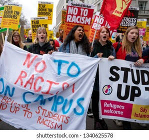 London, UK. 16th Feb, 2019. Bristol students protest against the racism during Anti Racism Demonstration in London.