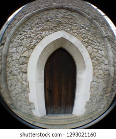 LONDON/ UK- 16th January 2019: Fish eye lens view, of the historic, Saint Olaves church entrance located near Fenchurch street, in the centre of London