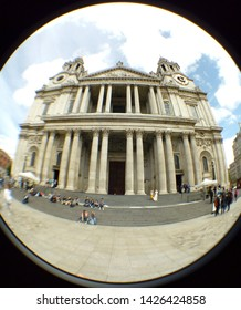 LONDON/ UK- 16th June 2019: Wide angel, fish eye lens view of the main entrance to Saint Paul's cathedral.