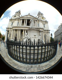 LONDON/ UK- 16th June 2019: Fish eye lens view of queen Victoria's statue, outside saint Paul's cathedral in central London.