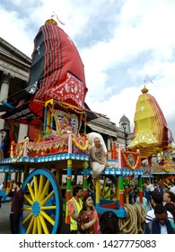 LONDON/ UK- 16th June 2019: The 51st anniversary event of the London Rathayatra chariot festival, was held in Trafalgar square, central London.
