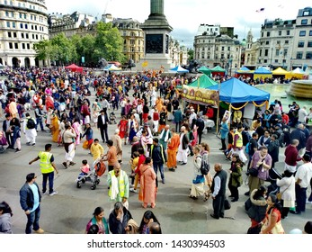 LONDON/ UK- 16th June 2019: Crowds of families gather in Trafalgar square, for the 51st London Rathayatra festival.