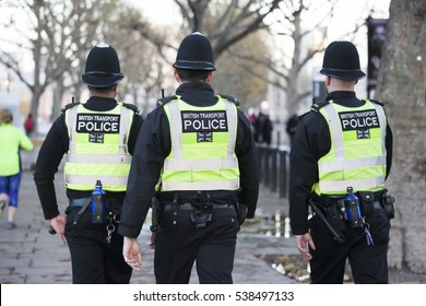 London, UK. 16th November 2016. EDITORIAL - Police is on the south bank of the Thames in London UK