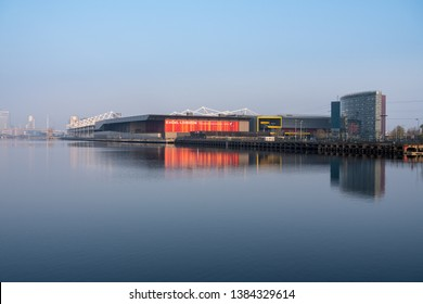 LONDON, UK - 17 APRIL 2019: Exterior of Excel London Conference Centre in London Docklands