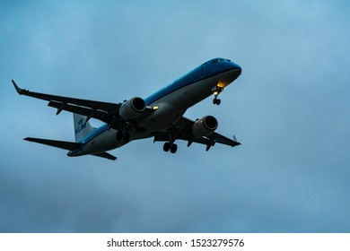 London, UK - 17, February 2019: KLM Cityhopper a subsidiary airline of Air France – KLM Airlines based in Haarlemmermeer, North Holland, Netherlands. Aircraft type Embraer ERJ-175 Fly on blue sky