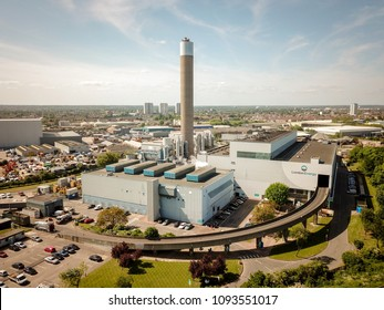 LONDON, UK - 17 MAY 2018: Aerial view of the London Energy EcoPark waste-to-energy power station and incinerator in Edmonton, North London.