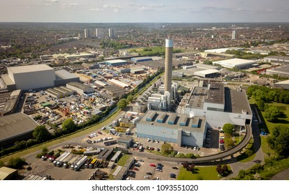 LONDON, UK - 17 MAY 2018: Aerial view of the London Energy EcoPark waste-to-energy power station and incinerator with its surrounding industrial estate in Edmonton, North London.