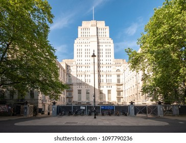 LONDON, UK - 17 MAY 2018: Senate House, University of London. The imposing Senate House building, a key art deco landmark within the University of London campus.