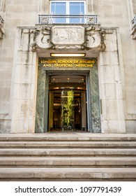 LONDON, UK - 17 MAY 2018: The art deco entrance to the London School of Hygiene and Tropical Medicine on Keppel Street, Bloomsbury. The LSHTM is a constituent college of the University of London.