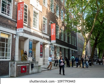 LONDON, UK - 17 MAY 2018: Students and staff at the entrance to Student Central, previously known as the University of London Union (ULU) which was Europe's largest students' union organisation.