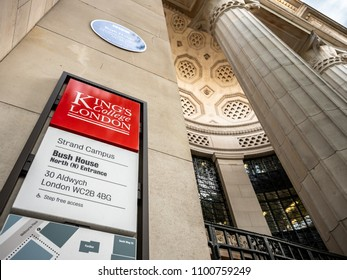 LONDON, UK - 17 MAY 2018: The signage to Bush House, part of King's College, London, at the southern end of Kingsway between Aldwych and The Strand.