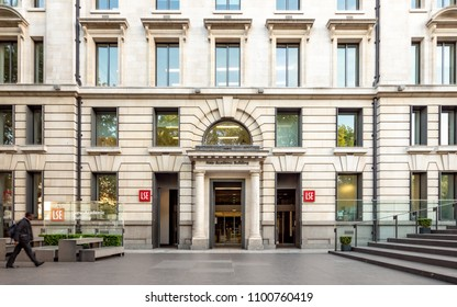 LONDON, UK - 17 MAY 2018: The entrance and facade to the New Academic Building of the London School of Economics (LSE) in the heart of London's legal district, Lincoln's Inn Fields.