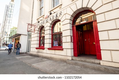 LONDON, UK - 17 MAY 2018: The front and entrace to the Bookmarks bookshop in the heart of the literary district of Bloomsbury, London.  The shop is the largest Socialist bookshop in Britain.