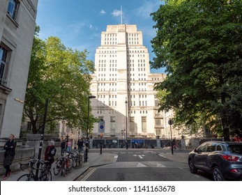 LONDON, UK - 17 MAY 2018: The imposing Senate House building, a key art deco landmark within the University of London campus.