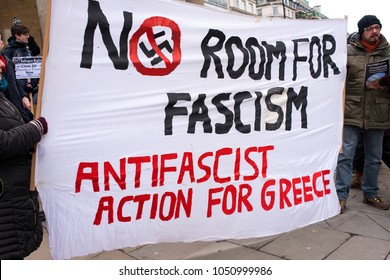 London, UK. 17th March 2018. EDITORIAL - One of the larger banners and posters seen at the March Against Racism national demonstration, London, in protest of the dramatic rise in race related attacks.