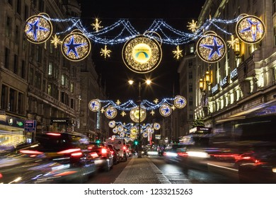 LONDON, UK - 17TH NOVEMBER 2018: A view along the Strand showing the Northbank Christmas decorations at night.
