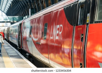 London, UK. 17th November 2018. LNER  Intercity 225 set at London Kings Cross station awaiting departure to Leeds. LNER is a newly formed state backed railway operator on the UK's East Coast mainline