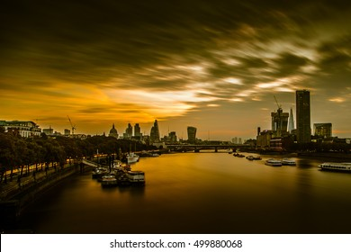 LONDON, UK - 17TH OCTOBER 2016: Long Exposure of the city of London at Sunrise
