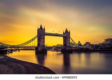 LONDON, UK - 17TH OCTOBER 2016: Long Exposure of Tower Bridge at Sunrise
